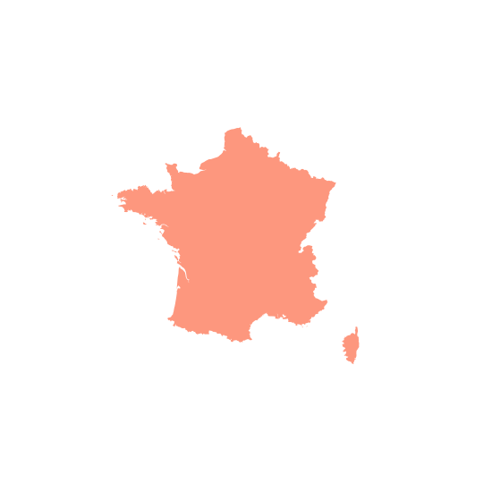 map of France in peach color